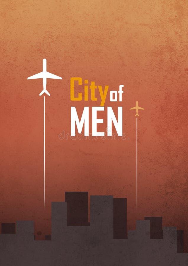 Cidade do projeto da capa do livro dos homens imagens de stock royalty free