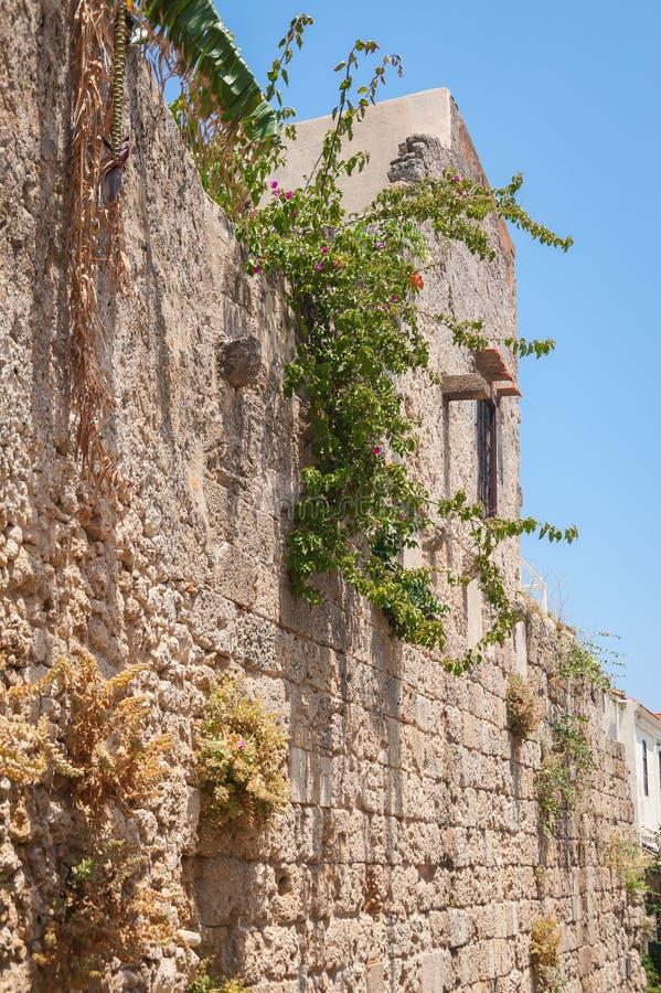 Cidade do Rodes, Grécia 05/30/2018 Moradia medieval residencial na parte histórica da baixa Console do Rodes Greece europa fotos de stock royalty free