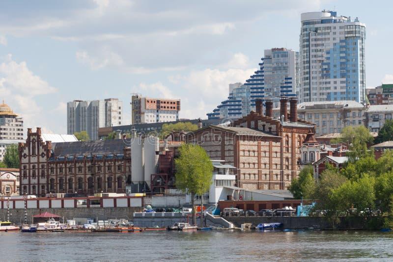 Cidade do Samara com o Rio Volga fotos de stock