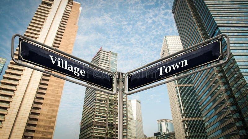 Cidade do sinal de rua contra a vila ilustração do vetor