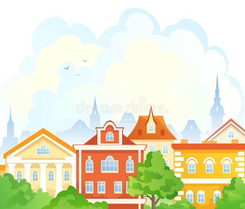 Cidade do verão dos desenhos animados ilustração stock
