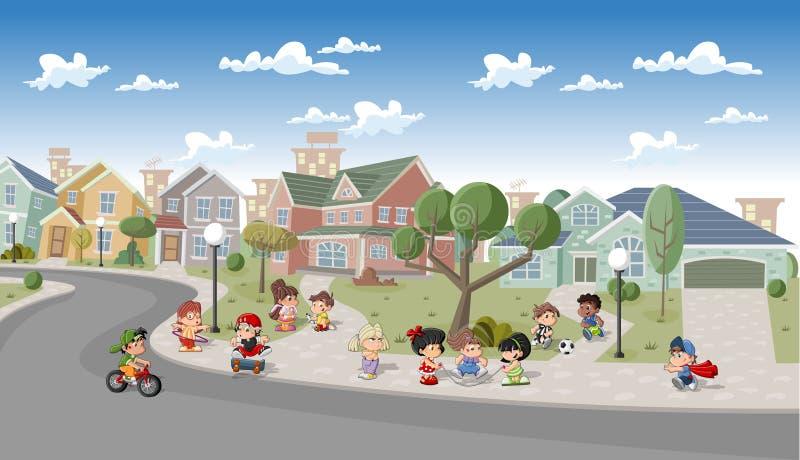 Cidade dos desenhos animados. ilustração do vetor