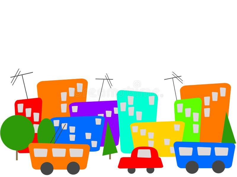 Cidade dos desenhos animados da cor ilustração royalty free