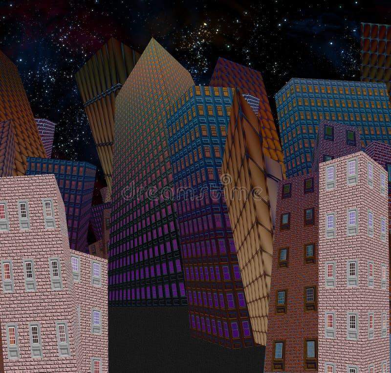 Cidade dos desenhos animados na noite ilustração royalty free