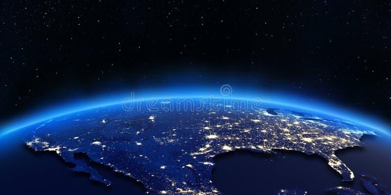 A cidade dos EUA ilumina o mapa ilustração royalty free