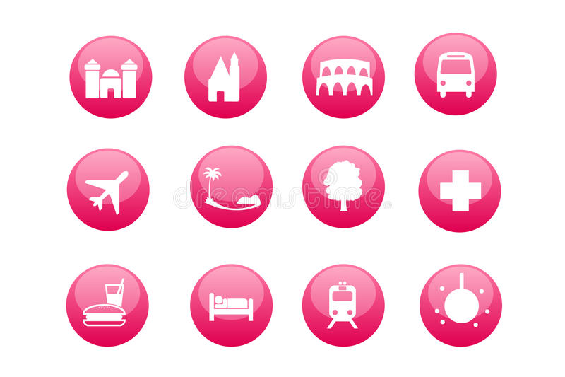 Cidade e ícones turísticos do mapa ilustração stock