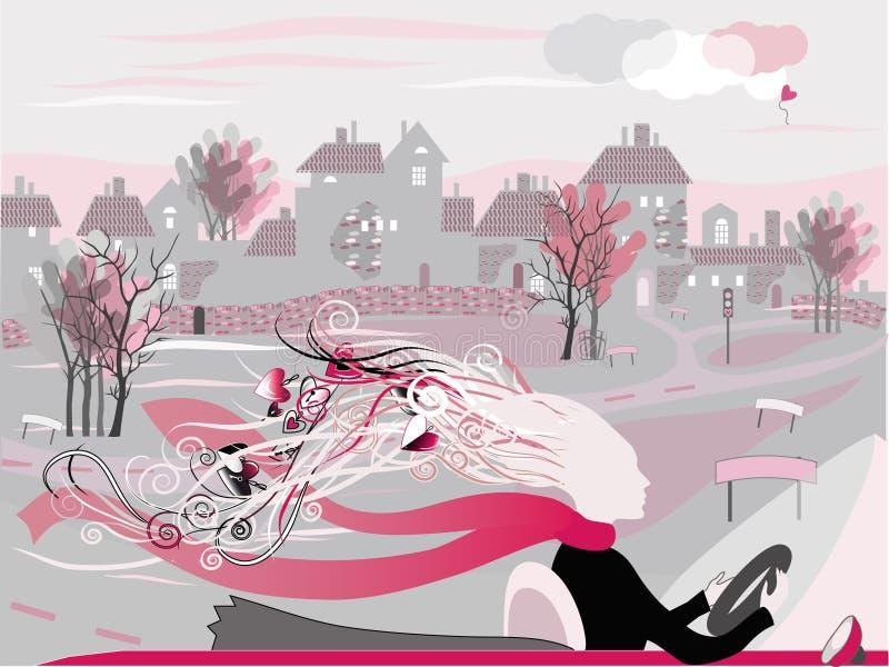 Cidade e amor ilustração do vetor