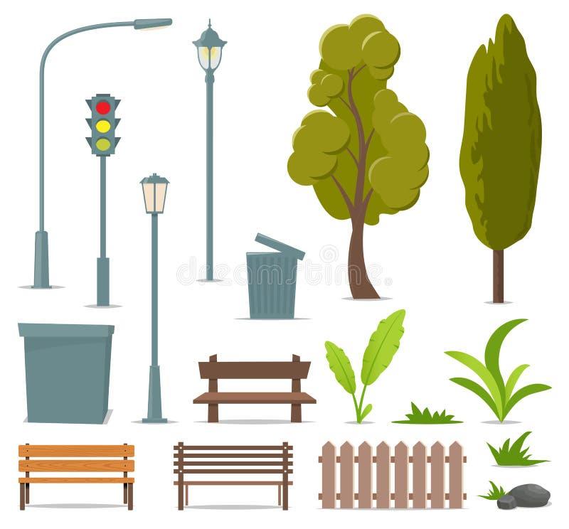 Cidade e elementos exteriores Grupo de objetos urbanos Lâmpada de rua, sinal, árvore, banco, balde do lixo, urna, arbustos, grama ilustração stock