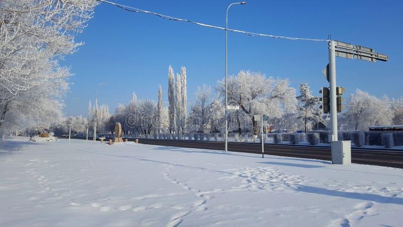 Cidade e estrada Siberian de Winer imagem de stock