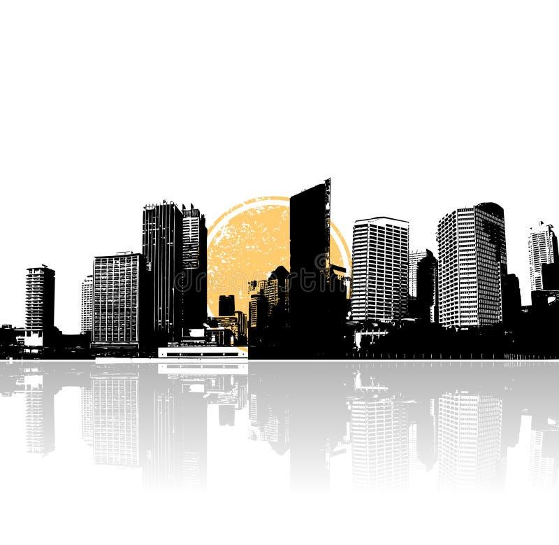 Cidade e mar com sol. Vetor ilustração do vetor