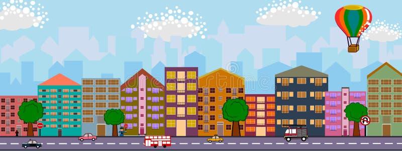 Cidade e o projeto liso da rua ilustração royalty free