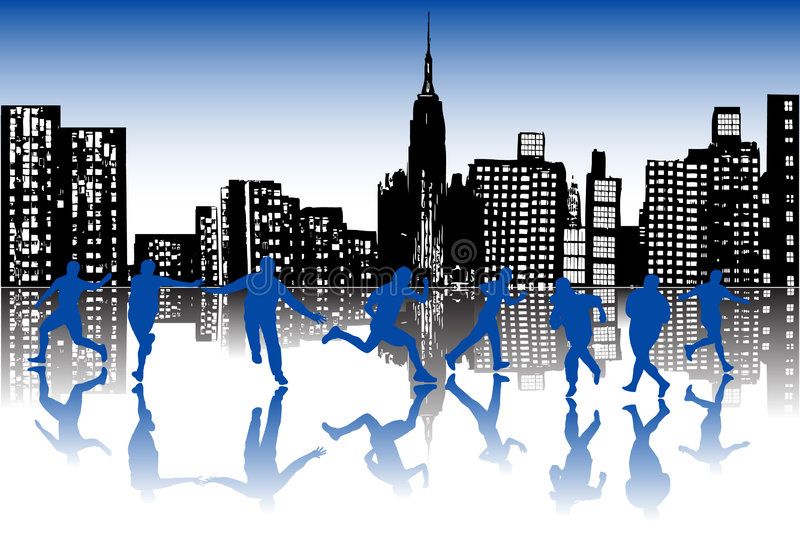 Cidade e povos ilustração royalty free