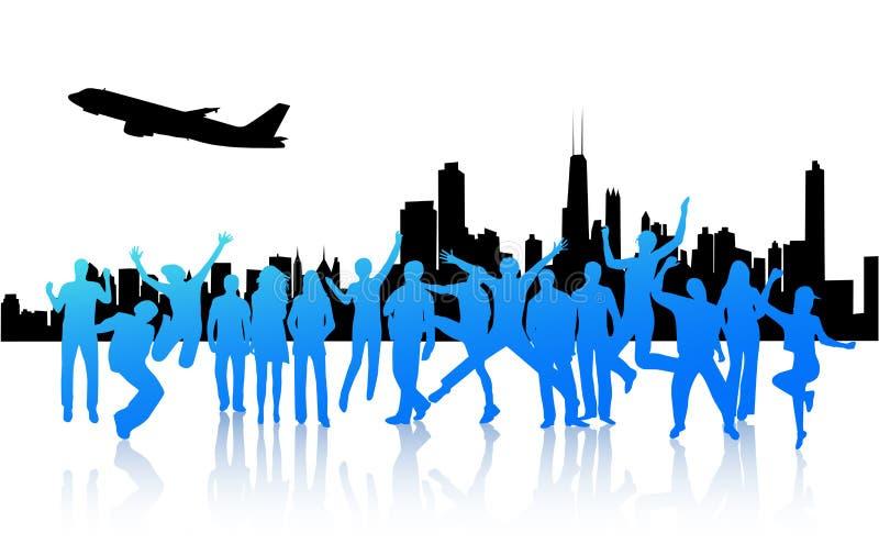 Cidade e povos ilustração stock