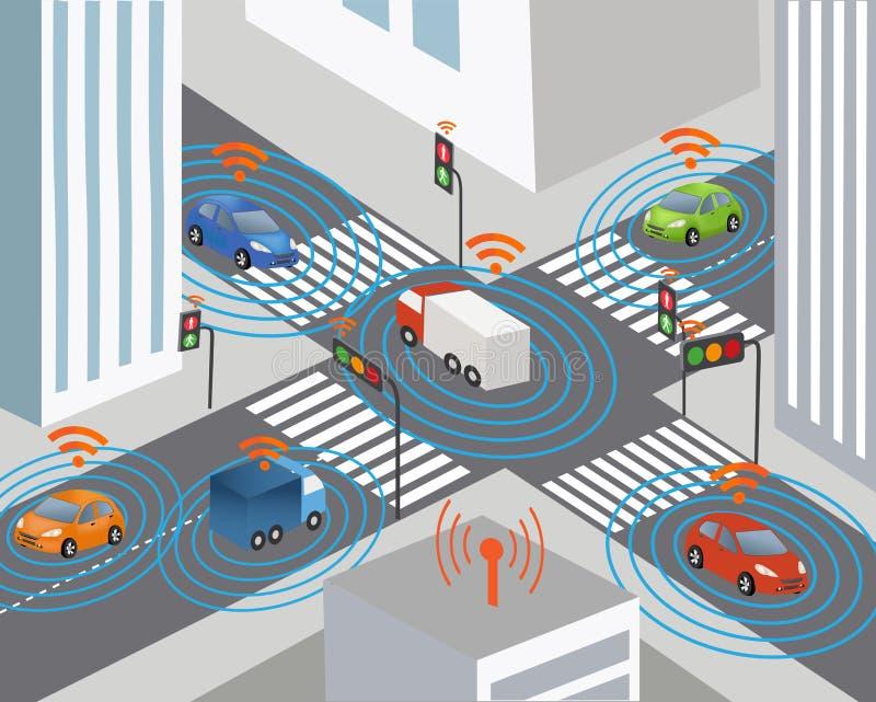 Cidade e rede wireless espertas do veículo ilustração royalty free