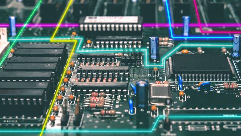 Cidade eletrônica de néon imagem de stock