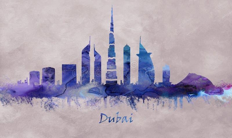 Cidade em Emiratos Árabes Unidos, skyline de Dubai ilustração do vetor