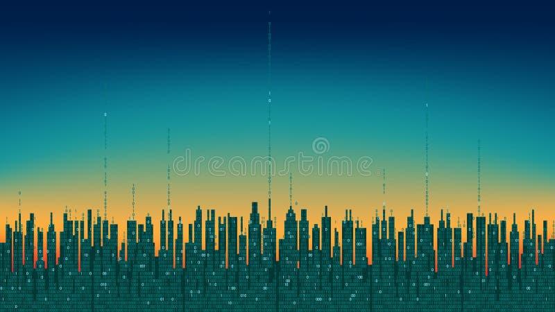 Cidade em linha Cidade digital futurista abstrata, fundo da informação da olá!-tecnologia ilustração stock