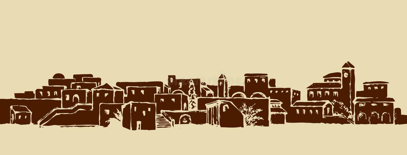 Cidade em um deserto Desenho do vetor ilustração do vetor