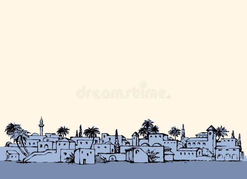Cidade em um deserto Desenho do vetor ilustração stock