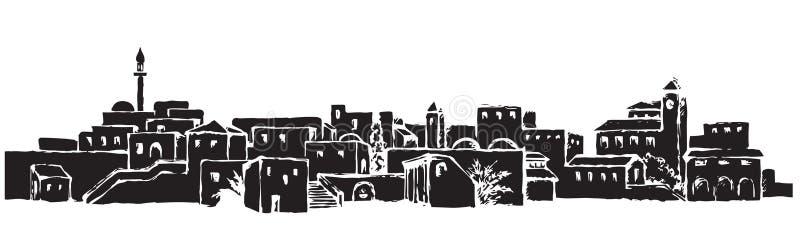 Cidade em um deserto Desenho do vetor ilustração royalty free