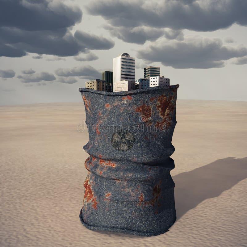 Cidade em um tambor do desperdício tóxico fotos de stock royalty free