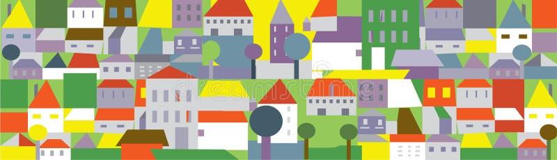 Cidade engraçada no verão - fundo sem emenda ilustração do vetor
