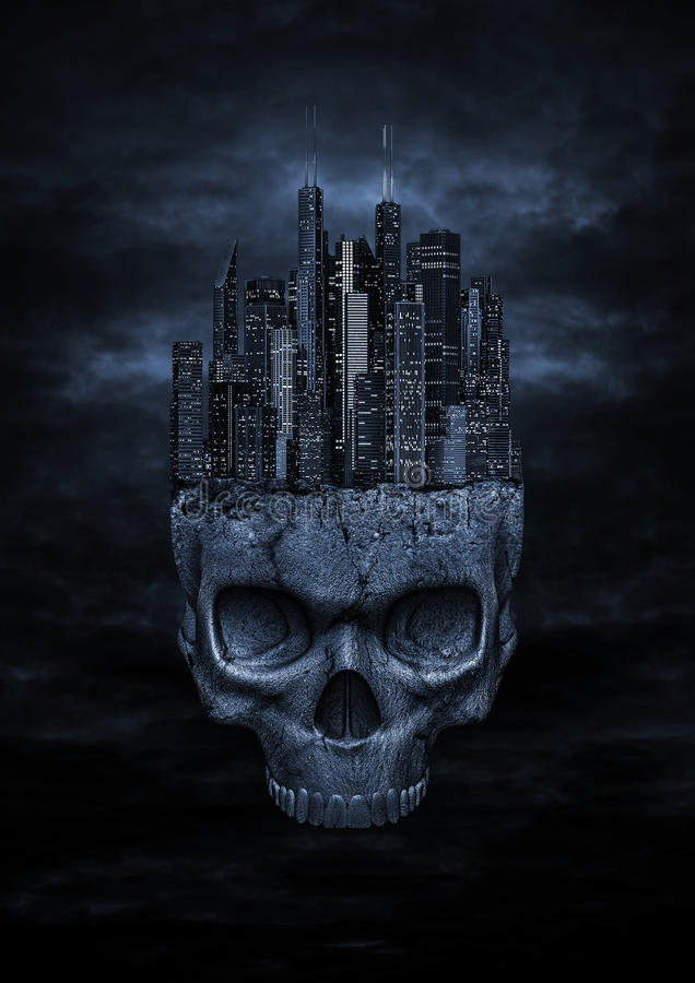 Cidade escura ilustração stock