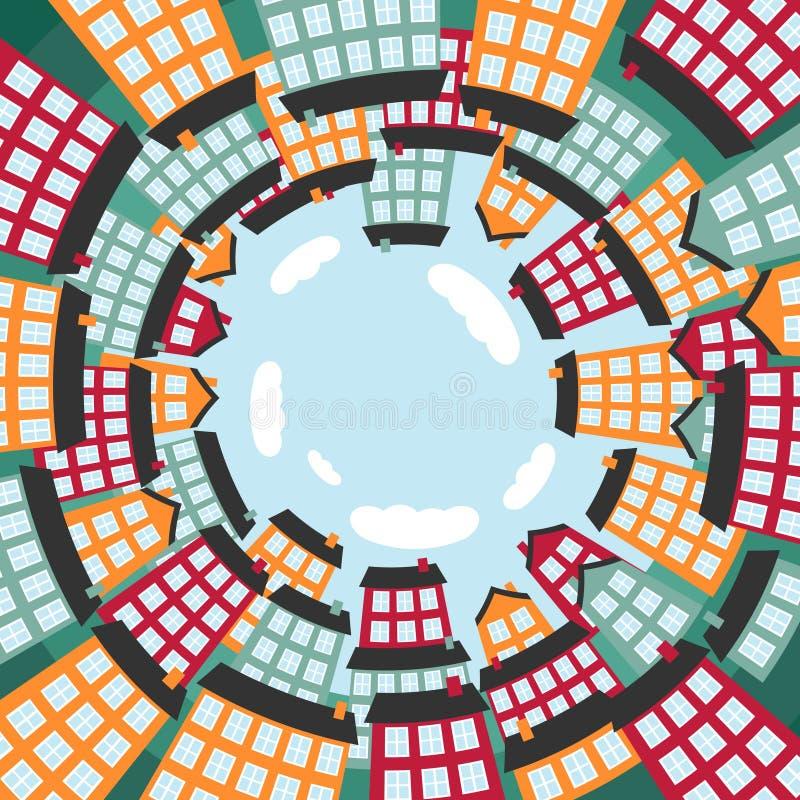 Cidade esférica colorida ilustração do vetor