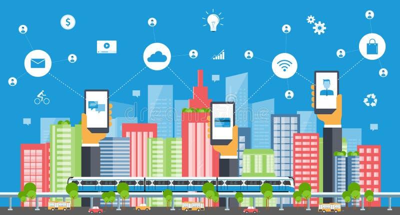 Cidade esperta do negócio Conexão a internet Conceito social ilustração royalty free