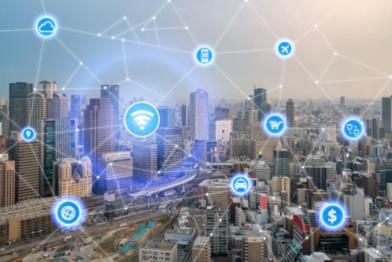 Cidade esperta e rede de comunicação sem fio, distrito financeiro imagem de stock royalty free