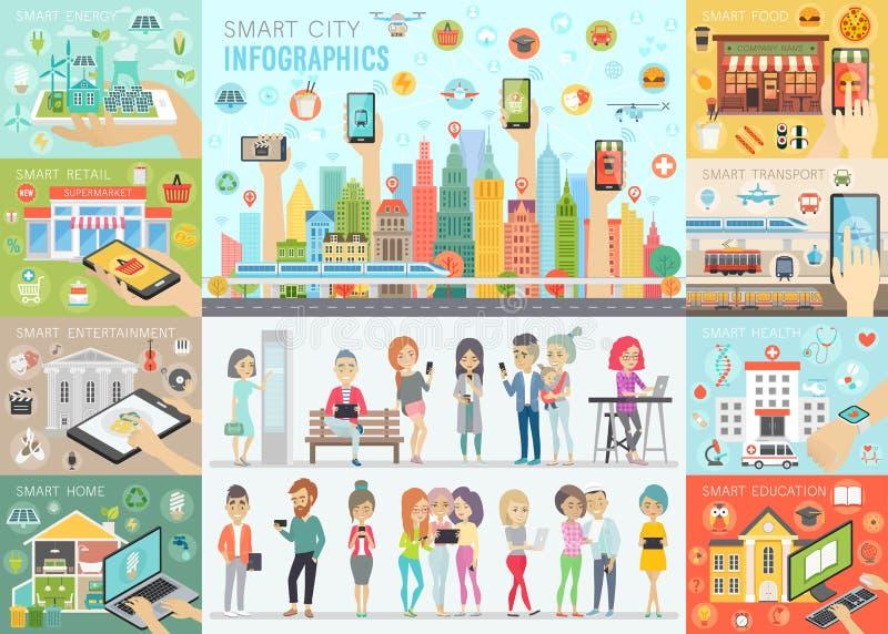 A cidade esperta Infographic ajustou-se com povos e outros elementos ilustração royalty free
