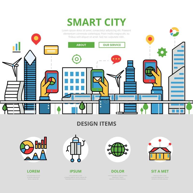 Cidade esperta lisa linear app Mobi infographic ilustração stock