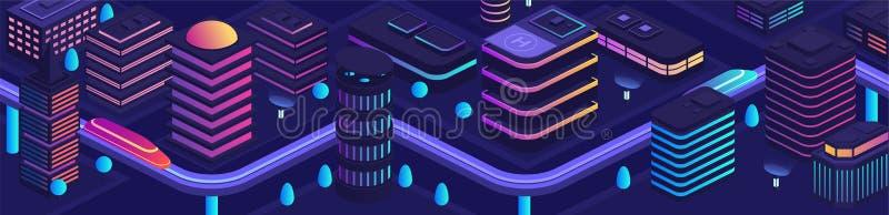 Cidade esperta no estilo futurista, cidade do futuro Centro de negócios ilustração royalty free