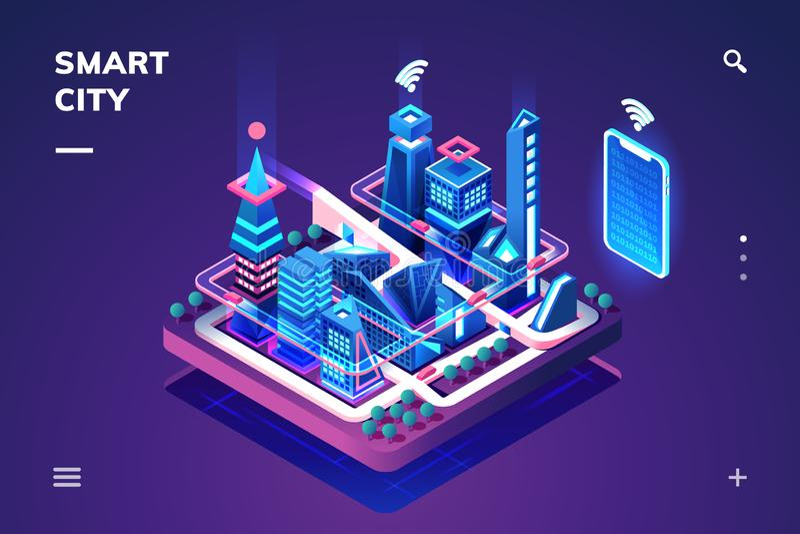 Cidade esperta ou cidade isométrica com tecnologia de IoT ou de GPS ilustração royalty free