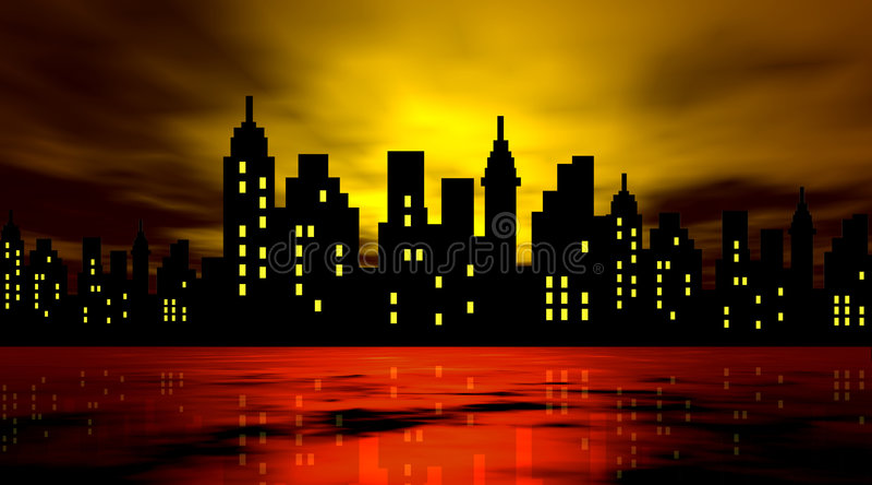 Cidade estilizado de encontro à noite ilustração royalty free