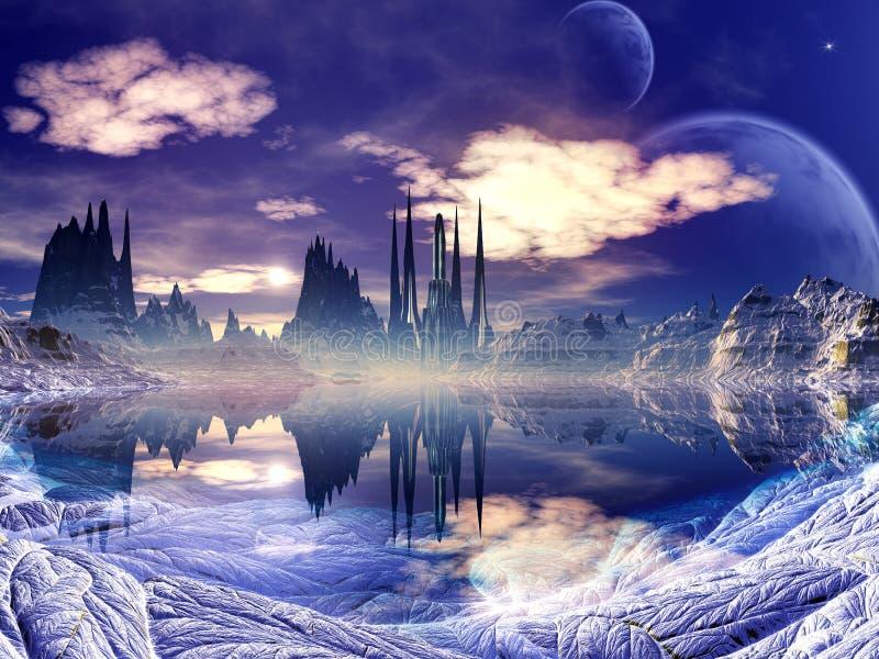 Cidade estrangeira futurista na paisagem do inverno ilustração royalty free