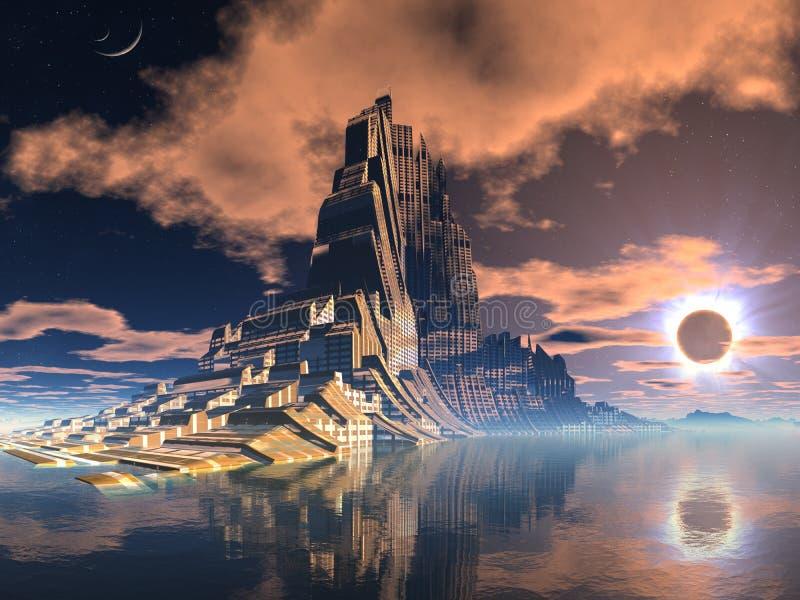 Cidade estrangeira futurista no eclipse lunar ilustração royalty free