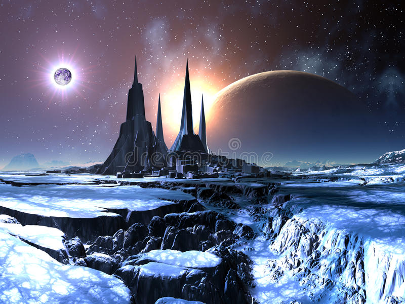 Cidade estrangeira perdida na neve ilustração stock