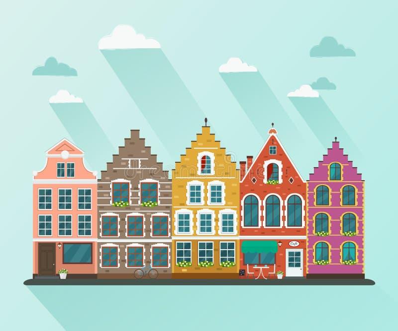 Cidade européia Ilustração lisa do vetor ilustração royalty free