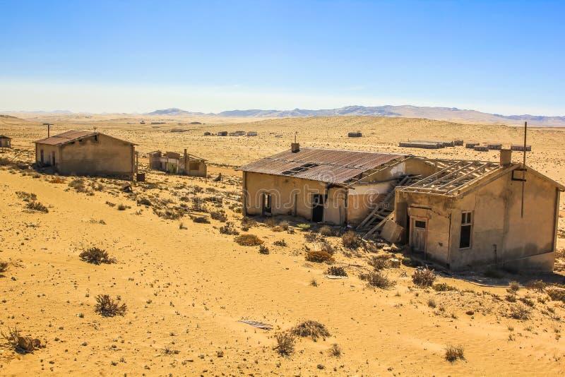 Cidade fantasma no deserto de Namíbia, Kolmanskop fotografia de stock