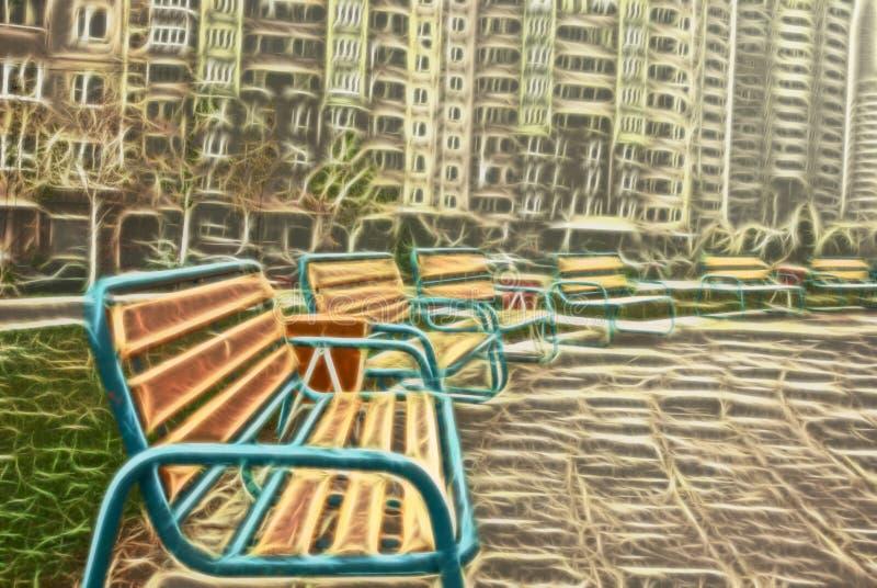 Cidade fantasma, cidade vazia, cidade inoperante, diminuição da civilização, qualquer um ao redor ilustração royalty free