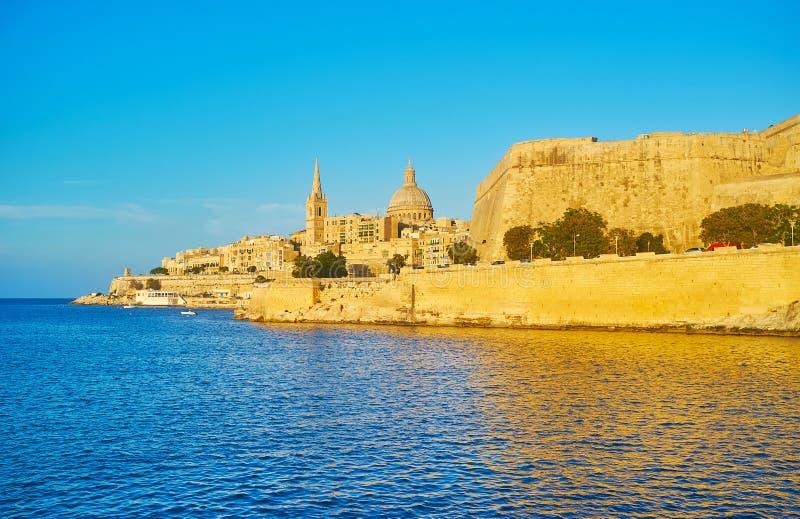 Cidade fortificada de Valletta, Malta fotografia de stock