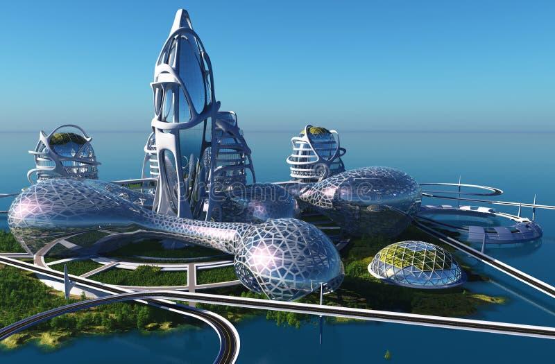 Cidade futura ilustração royalty free