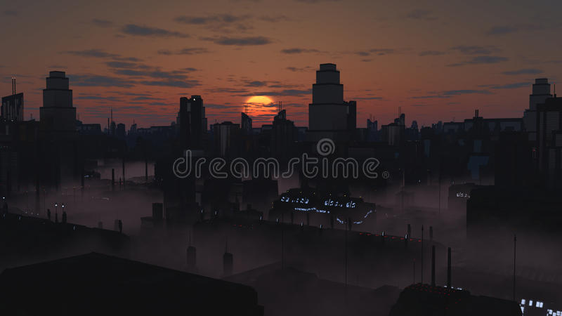 Cidade futura em Misty Sunset ilustração royalty free