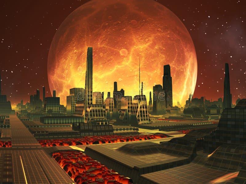 Cidade futura no planeta da lava com Lua cheia ilustração do vetor