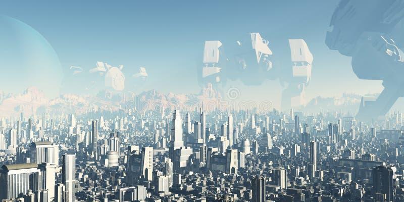 Cidade futura - veteranos de guerras esquecidas ilustração royalty free