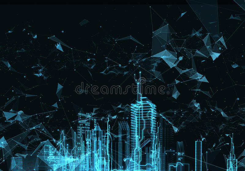 Cidade futurista abstrata ilustração do vetor