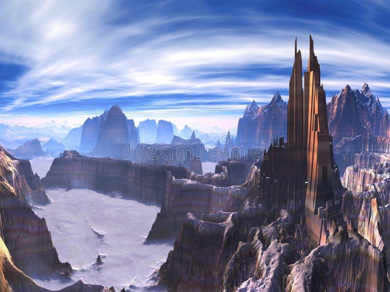 Cidade futurista construída em partes superiores do penhasco no mundo estrangeiro ilustração royalty free