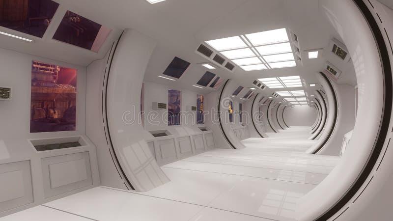 Cidade futurista do interior e do scifi ilustração stock
