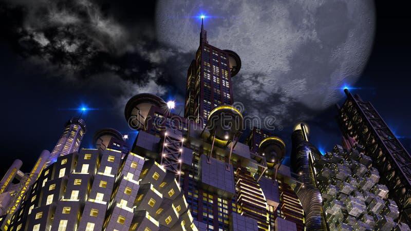 Cidade futurista na noite com a lua gigante de aparecimento ilustração do vetor